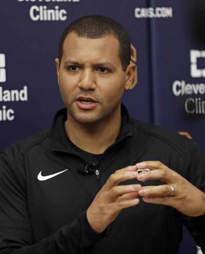 Cleveland Cavaliers general manager Koby Altman speaks to the media at the team's training facility, Friday, April 12, 2019, in Independence, Ohio. Once again, the Cavaliers are looking for a coach. The team parted ways with Larry Drew and have begun their search for his replacement to continue their rebuild. (Tony Dejak / Associated Press)