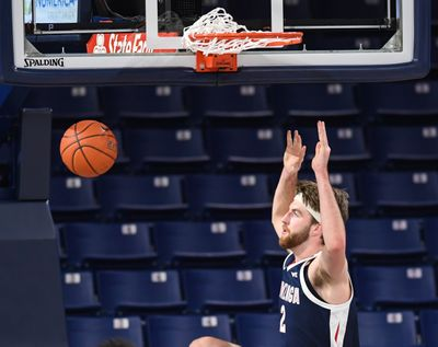 Gonzaga sophomore forward Drew Timme slams during last week's Kraziness in the Kennel at the McCarthey Athletic Center.  (By Dan Pelle / The Spokesman-Review)