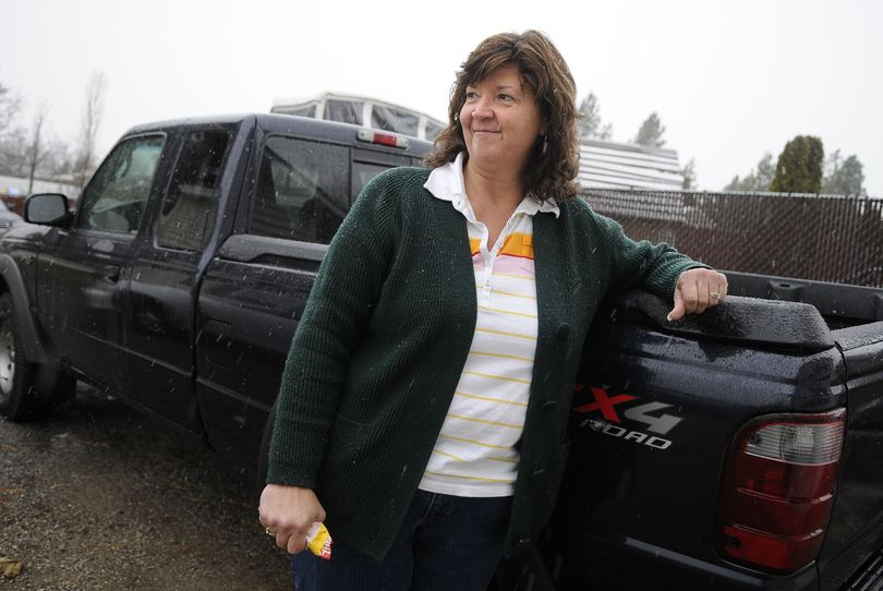 Sherry L. Prickett, of Spokane, was stopped at a red light on Farwell Road when her Ford Ranger was rear-ended by a pickup driven by Spokane police Sgt. Bradley Thoma.  (Dan Pelle)