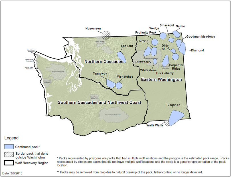 Washington's confirmed wolf packs increased from 13 at the end of 2013 to 16 at the end of 2014 as indicated in this map released by the Washington Department of Fish and Wildlife on March 6, 2015. (Washington Department of Fish and Wildlife)
