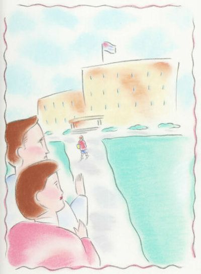 Parents watch their child head off to school. Staff illustration by A. Heitner  (Staff illustration / The Spokesman-Review)