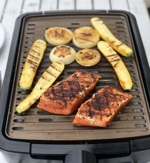 Coho salmon was the highlight of one of our cookouts on the road, seasoned with Tom Douglas's Rub With Love. (Leslie Kelly)