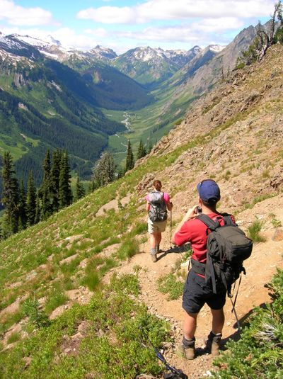 Hikers trek over Little Giant Pass in the Central Cascades. (Photo courtesy of Craig Romano / The Spokesman-Review)