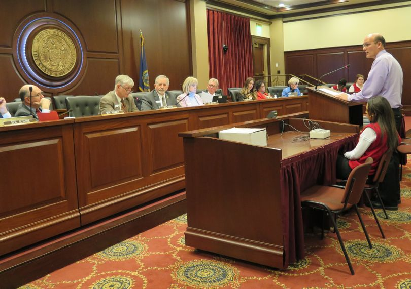 Chris Taylor testifies in favor of revised school science standards to the Senate Education Committee on Wednesday, Feb. 14, 2018. (Betsy Z. Russell)