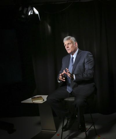 "Franklin Graham is scheduled to speak Thursday  at the Spokane County Fair and Expo Center as part of his ""Decision America"" tour. (Bebeto Matthews / AP)"