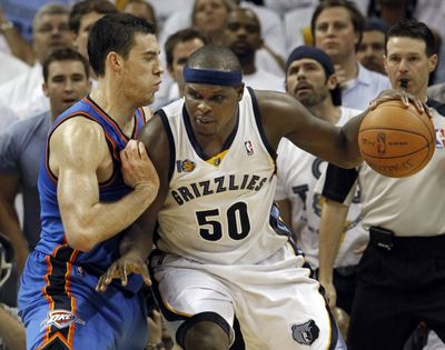 Grizzlies forward Zach Randolph, right, had 21 points and 21 rebounds in Game 3 win over Thunder. (Associated Press)