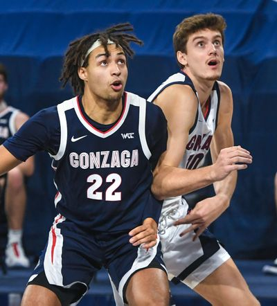 Gonzaga center Pavel Zakharov (right) and forward Anton Watson (22) battle for position at Kraziness in the Kennel on Nov. 12.  (Dan Pelle/The Spokesman-Review)