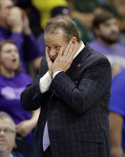 In this March 10, 2018 photo, Stephen F. Austin head coach Kyle Keller reacts during the second half of an NCAA college basketball game against Southeastern Louisiana in the Southland Conference's men's basketball tournament championship game in Houston. Stephen F. Austin had three teams on a list released Tuesday that could have faced bans because they posted a four-year score below 930. (Michael Wyke / Associated Press)