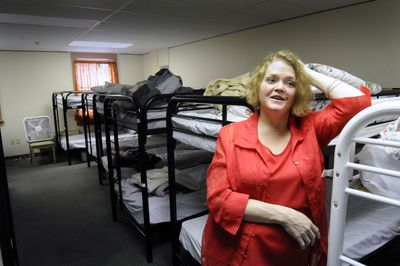 Michelle Christie is the volunteer coordinator at Hope House. She stands in the Hope House shelter dormitory Wednesday. (Jesse Tinsley / The Spokesman-Review)