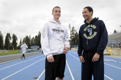 Mark Weller, left, and Marzell Jenkins, on the SFCC track. (Jesse Tinsley / The Spokesman-Review)