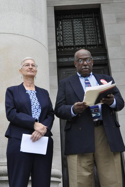 Mary Martin, Socialist Workers Party candidate for governor, and Osborne Hart, its vice presidential nominee, held a press conference Tuesday, July 5, 2016, in Olympia to announce the party will be on the Washington presidential ballot in November. (Jim Camden / The Spokesman-Review)