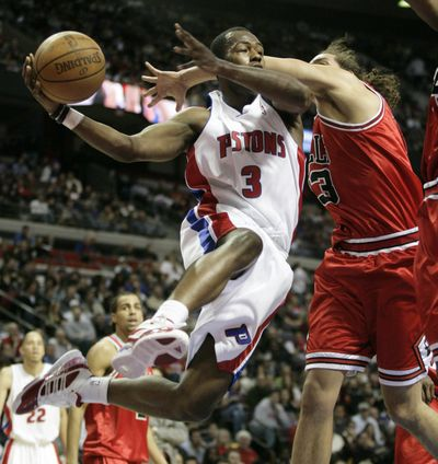 Detroit's Rodney Stuckey scored 40 points in NBA win over Chicago.  (Associated Press / The Spokesman-Review)