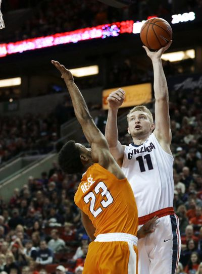 Gonzaga forward Domantas Sabonis (11) scored a career-high 36 points and grabbed 16 rebounds against Tennessee Saturday. (Ted Warren / Associated Press)