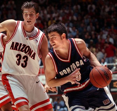 In this 2003 file photo, Gonzaga's Blake Stepp drives in the second overtime against Arizona in Salt Lake City. (FILE)