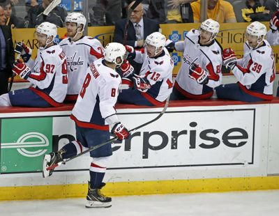 Washington Capitals' Alex Ovechkin celebrates his go-ahead goal as he returns to the bench during the third period in Game 3 of an NHL second-round hockey playoff series against the Pittsburgh Penguins in Pittsburgh, Tuesday, May 1, 2018. The Capitals won 4-3. (Gene J. Puskar / Associated Press)