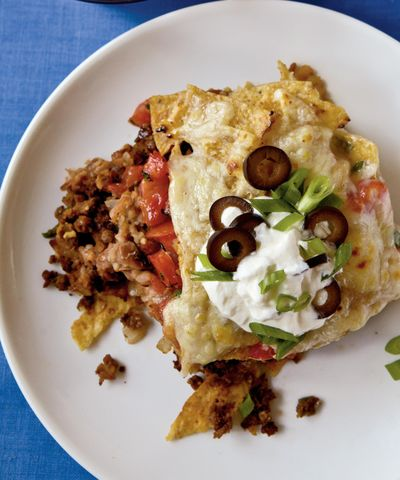 """Use meatless crumbles in this Mexican Casserole for protein that is free of saturated fat. Mexican spices help dress up plain or flavored meatless crumbles for a satisfying meatless dish from Cooking Light's """"Way to Cook Vegetarian."""""""