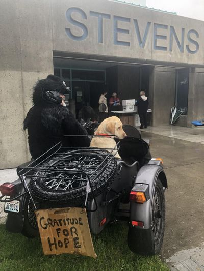 Ira Amstadter, donning a gorilla suit, and his English Labrador Bear visit a Rotarian food distribution event at Stevens Elementary School. (Courtesy)
