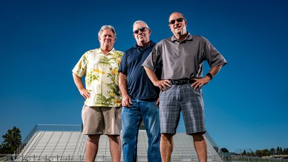 """Left to right, Dennis Patchin, Rick Lukens and Bud Nameck launched the high school football highlights show """"Friday Night Sports Extra"""" on KXLY 34 years ago.  (Colin Mulvany/THE SPOKESMAN-REVIEW)"""