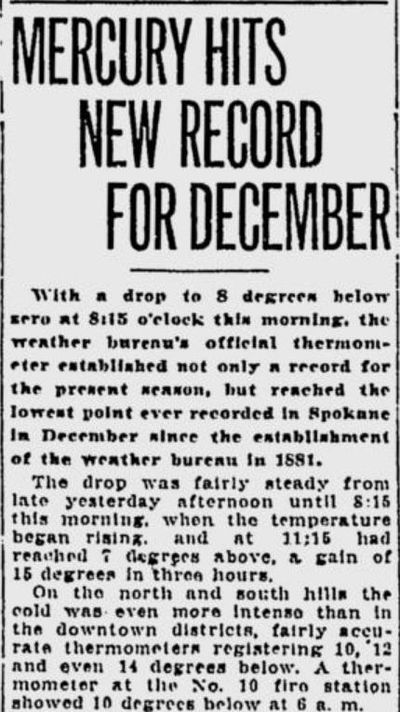 Brutal cold swept into Spokane on Dec. 9, 1919, prompting fears of a coal shortage for heating homes. (S-R archives)