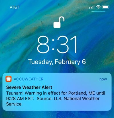 Some people on the East Coast got a push alert on their phones Tuesday, Feb. 6, 2018, about a tsunami warning, but the National Weather Service says it was just a test. On May 11, 2018 a similar warning went out across Alaska and along the West Coast. It turned out it was also only a test. (Jeremy DaRos / AP)