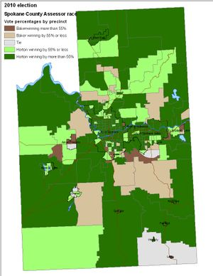 Computer map of votes cast in the Spokane County assessor's race as of 11/2/2010. (Jim Camden/Spokesman-Review)