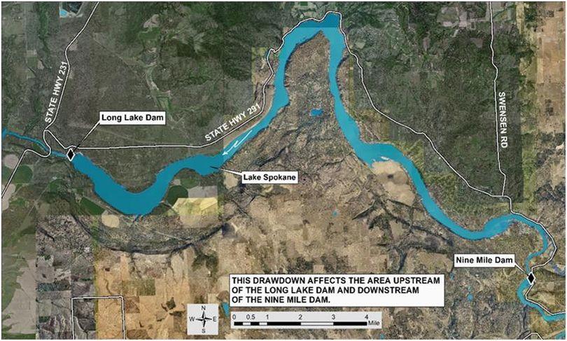 Long Lake Dam on the Spokane River west of Spokane creates Lake Spokane.  (Avista)