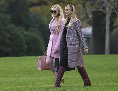 Ivanka Trump, right, and Tiffany Trump, daughters of President Donald Trump, walk on the South Lawn of the White House in Washington, Tuesday, Nov. 20, 2018, to board Marine One for the short trip to Andrews Air Force Base and onto Mar-a-Lago for Thanksgiving. (Carolyn Kaster / Associated Press)