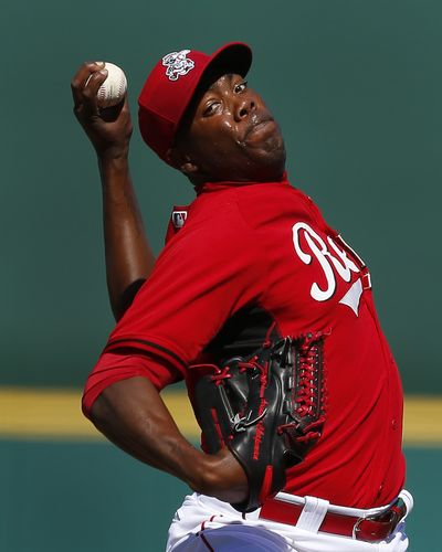 Cincinnati's Aroldis Chapman was struck in the face with a line drive on Wednesday. (Associated Press)