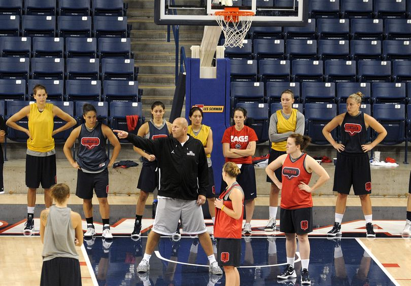 Gonzaga women's coach Kelly Graves, center, prepares his team for the season opener Friday against Hofstra. (Christopher Anderson)