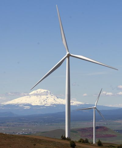 Wind turbines are already a common sight along the Columbia Gorge, like these shown near Goldendale, Wash. (Associated Press)