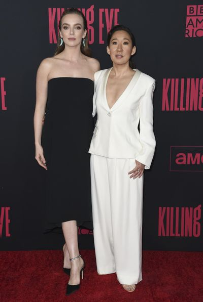 "Jodie Comer, left, and Sandra Oh arrive at the season two premiere of ""Killing Eve"" on April 1 in Los Angeles. (Richard Shotwell / Richard Shotwell/Associated Press)"