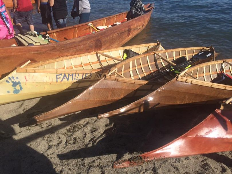 The Coeur d'Alene Indian Tribe Facebook offers photos of the crossing of Lake Coeur d'Alene by tribal members in canoes today. The caption reads: