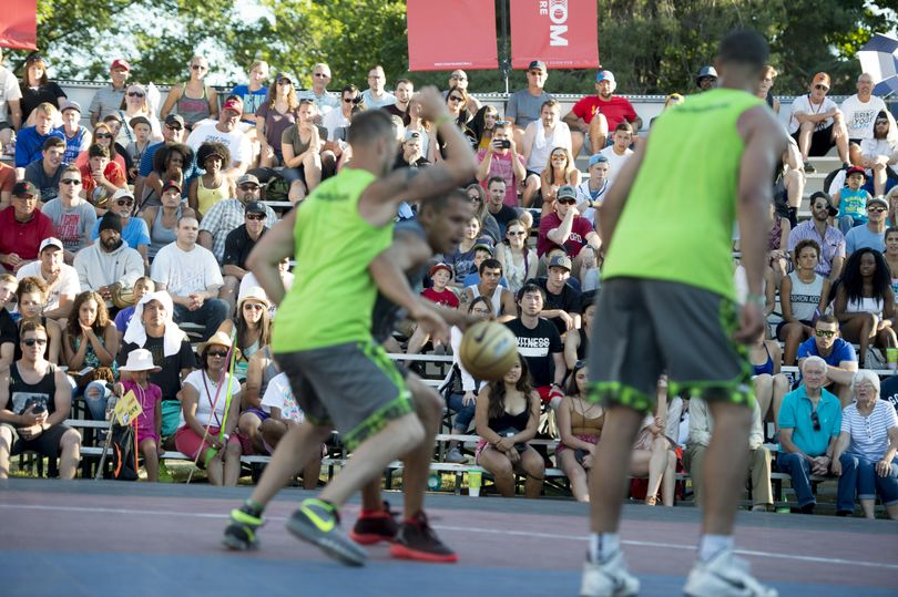 Fans watch as Spokane Club takes on Boiler Room during the Men's Over 6' Elite Championship Game during Hoopfest 2016 on Sunday, June 26, 2016, at Nike Center Court in Spokane, Wash. (Tyler Tjomsland / The Spokesman-Review)