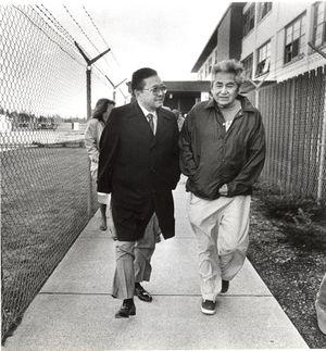 Sen. Daniel Inouye, D-Hawaii, and David SoHappy Sr., at Geiger Corrections Center on March 6, 1988 (Dan Pelle)