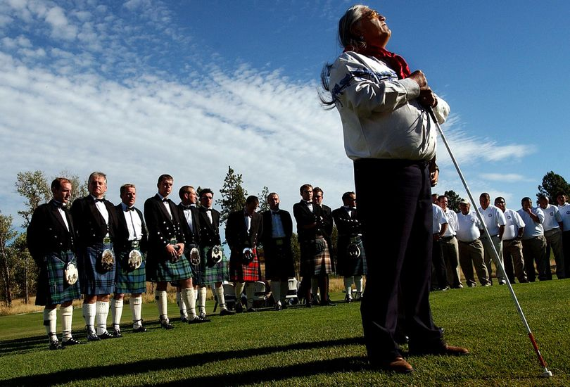 Coeur d'Alene Tribe elder Cliff SiJohn announced the arrival of Scotland's Royal Dornoch Golf Club during the opening ceremony of the Circling Raven/Royal Dornoch Challenge at the golf course in Worley in 2005.  (Kathy Plonka)