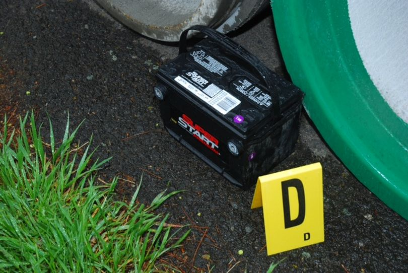 Police still are looking for information about a car battery found near the scene of a fatal stabbing last Thursday.  (Spokane Police Department)