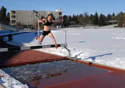 Sara Trané doesn't let a March snowstorm stop her from practicing.Courtesy of WSU (Courtesy of WSU / The Spokesman-Review)