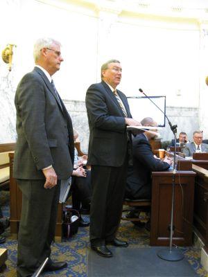 Senate President Pro-Tem Brent Hill, left, and House Speaker Scott Bedke, right, address JFAC on Tuesday (Betsy Z. Russell)