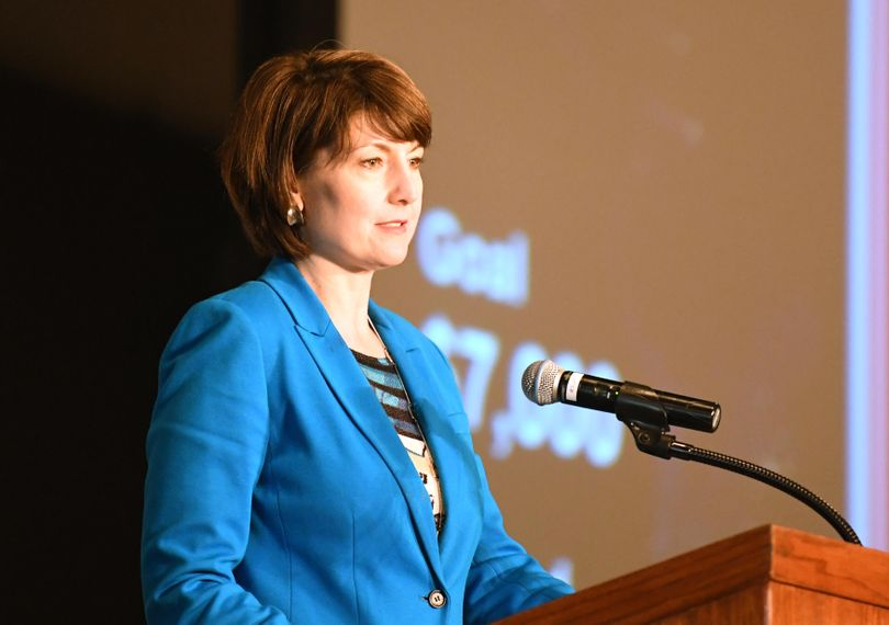 FILE - Rep. Cathy McMorris Rodgers speaks at the MLK Day march, Monday, Jan. 16, 2017, at the Spokane Convention Center. (Jesse Tinsley / The Spokesman-Review)