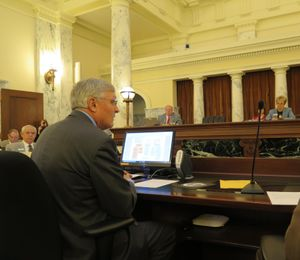 Dick Armstrong, Idaho Health & Welfare director, opens a week of budget hearings on health and human services budgets Monday morning before the Legislature's Joint Finance-Appropriations Committee. (Betsy Z. Russell)