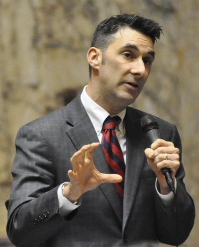 Rep. Kevin Parker, R-Spokane, speaks during a debate over the 2016 supplemental budget on the last day of the legislative session. (Jim Camden / The Spokesman-Review)