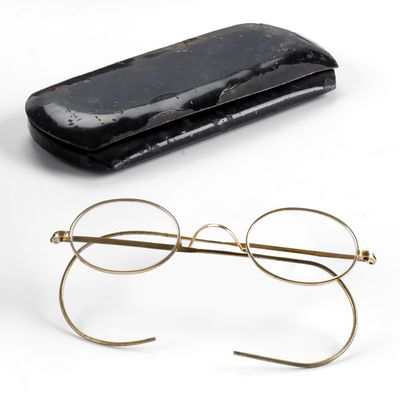 Mahatma Gandhi's glasses and case, along with other items, were bought at auction by Indian liquor and airline tycoon Vijay Mallya  on Thursday. (Associated Press / The Spokesman-Review)