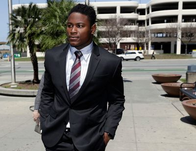 In this April 12, 2018, file photo, San Francisco 49ers linebacker Reuben Foster arrives at Santa Clara County Superior Court in San Jose, Calif. Foster pleaded not guilty Tuesday, May 8, 2018, to charges stemming from allegations that he attacked his then-girlfriend in their home in February. A preliminary hearing has been scheduled for May 17, at which point Foster's former girlfriend, Elissa Ennis, may testify under oath. (Marcio Jose Sanchez / Associated Press)