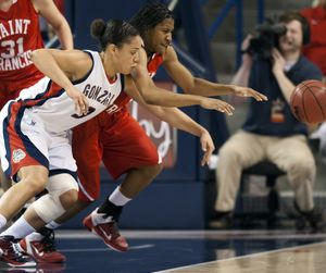 Gonzaga's Haiden Palmer and Saint Francis' Nickia Gibbs chase a loose ball during the second half of their NCAA college basketball game Sunday, Jan. 1, 2012, in the McCarthey Athletic Center in Spokane, Wash. COLIN MULVANY colinm@spokesman (Colin Mulvany / The Spokesman-Review)