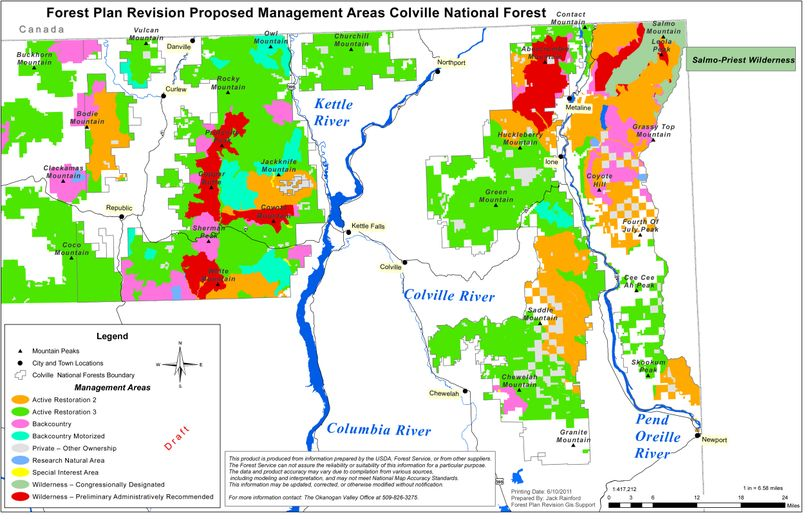Forest plan revision, proposed management areas, Colville National Forest.  Red indicates recommended wilderness areas. (U.S. Forest Service)