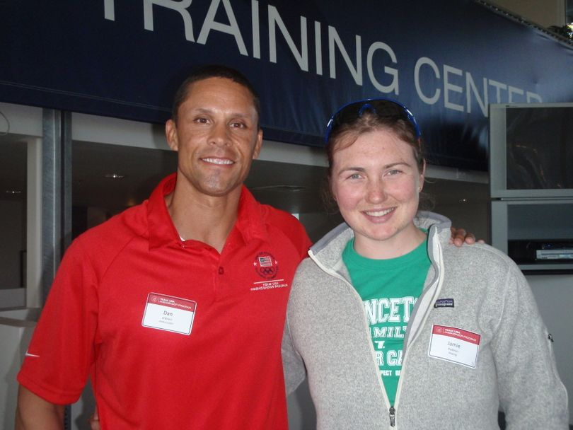 U.S. Rowing Team member Jamie Redman of Spokane took time out to chat at the Olympic Training Center near San Diego in January 2012 with former University of Idaho athlete and Olympic decathlete Dan O'Brien, who won a gold medal in the 1996 Summer Games in Atlanta.