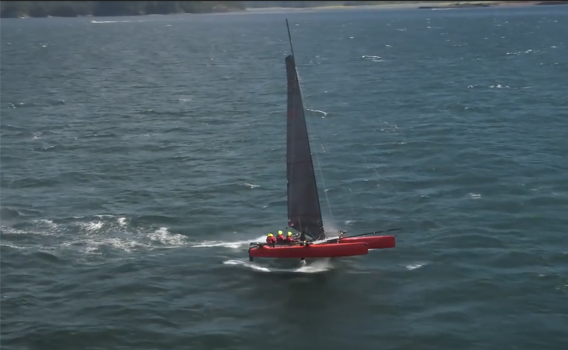 2016 Race to Alaska winners Mad Dog, a three-man catamaran.