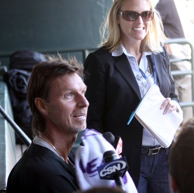 Simulated game has Randy Johnson talking activation.  (Associated Press / The Spokesman-Review)