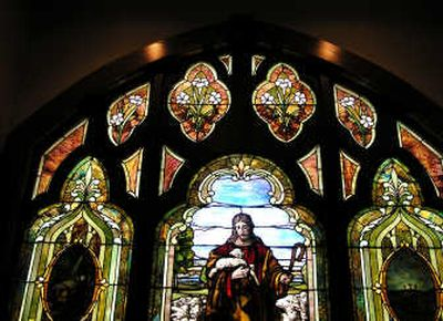 This stained glass window is one that was moved to the new Methodist church on West Hanley.  (The Spokesman-Review)