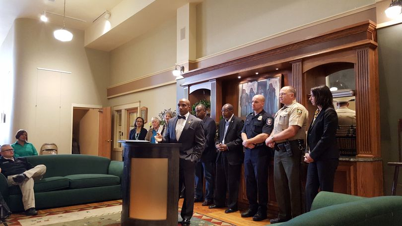 Spokane NAACP president Phillip Tyler addresses a small group of officials and community members at a press conference Tuesday. (Rachel Alexander)